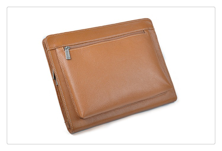 Executive Zippered iPad Holder Leather Documents Organizer Agenda/Portfolio File Folder With Letter-Size Notepad and Pockets