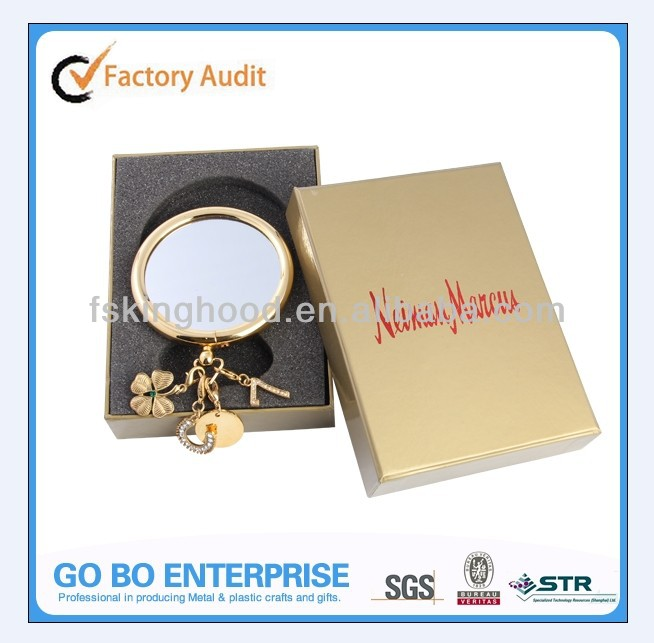 Gold plating metal round hand mirror with chrams