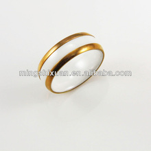New Unique Golden Brand Wholesale Women Vners White Ceramic Ring