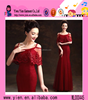 2017 latest designs ladies party long dresses top quality stylish wine red Evening Dress