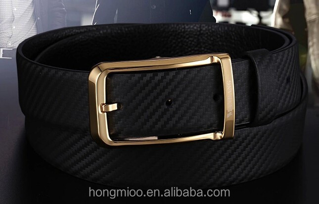 Original Men Leather Belt With Carbon Fibra Pattern Shiny Golden Reversible Buckles