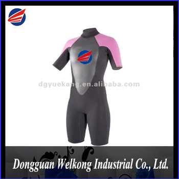 WATER SPORT EQUIPMENT MEN NEOPRENE BLIND STITCH SUPER FLEX SHORT SLEEVE WETSUIT WITH BACK ZIP OPEN