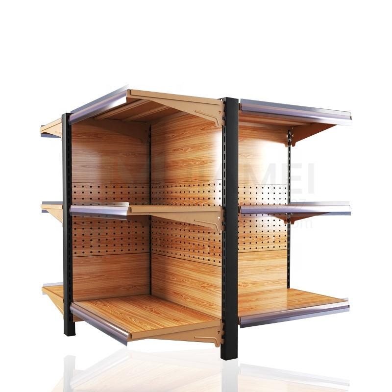 JIAMEI luxury wood grain retail shelf supermarket display rack