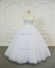 Sweetheart white beading luxury high quality ball gown bridal wedding dress 2017