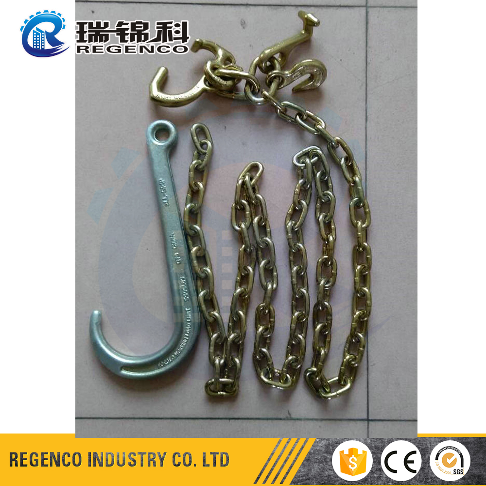 "Truck tailer towing hook Grade 70 5/16"" Tow Chain with hook cluster and Shank Long J hook"