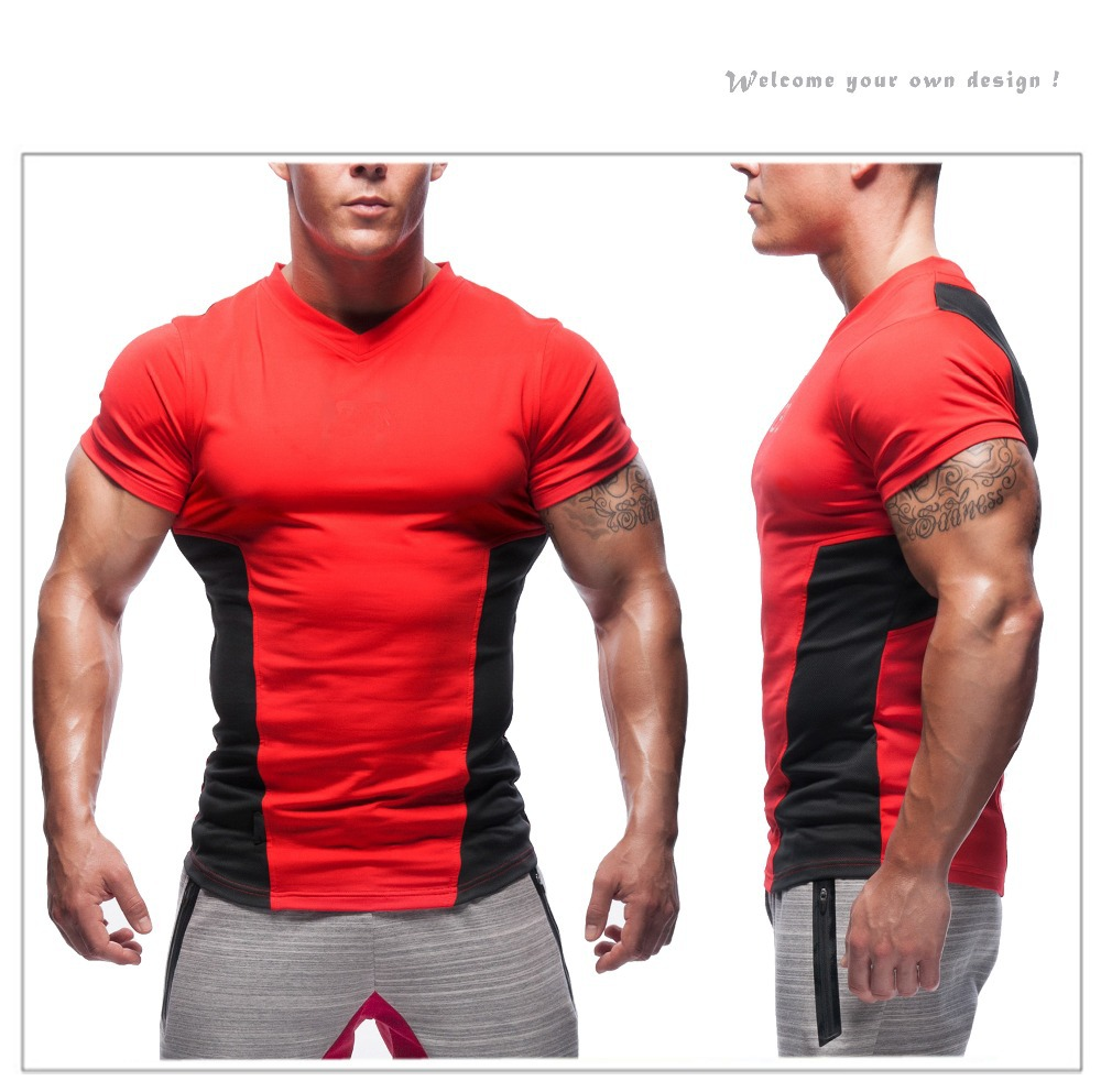Custom cotton logo printed wholesale men body building for Design your own workout shirt