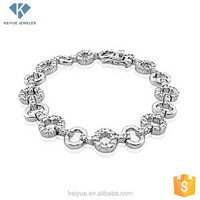 925 silver pave rhinestone circle chain link bijouterie bracelets women