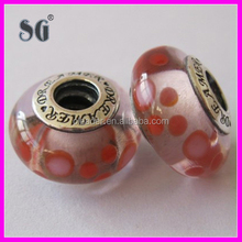 High quality 925 sterling silver cap with lampwork and glass beads fit for italy bracelet