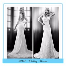 Plus size simple Sexy long sleeve wedding gowns French Lace mermaid dress wedding white wedding dresses 2015(YASA-5093)