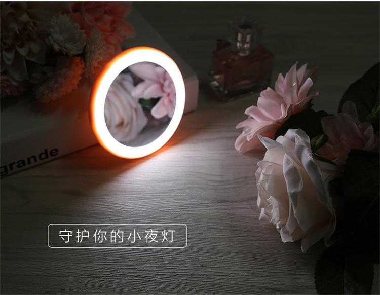 2019 new round usb led mirror pocket mirror with led