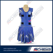 sublimation latest fashion desigh netball bodysuit cheap breathable netball skirts/ dress