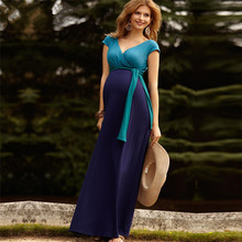 long frock plus size fashionable maternity dress with sash ladies wear with short sleeve dress