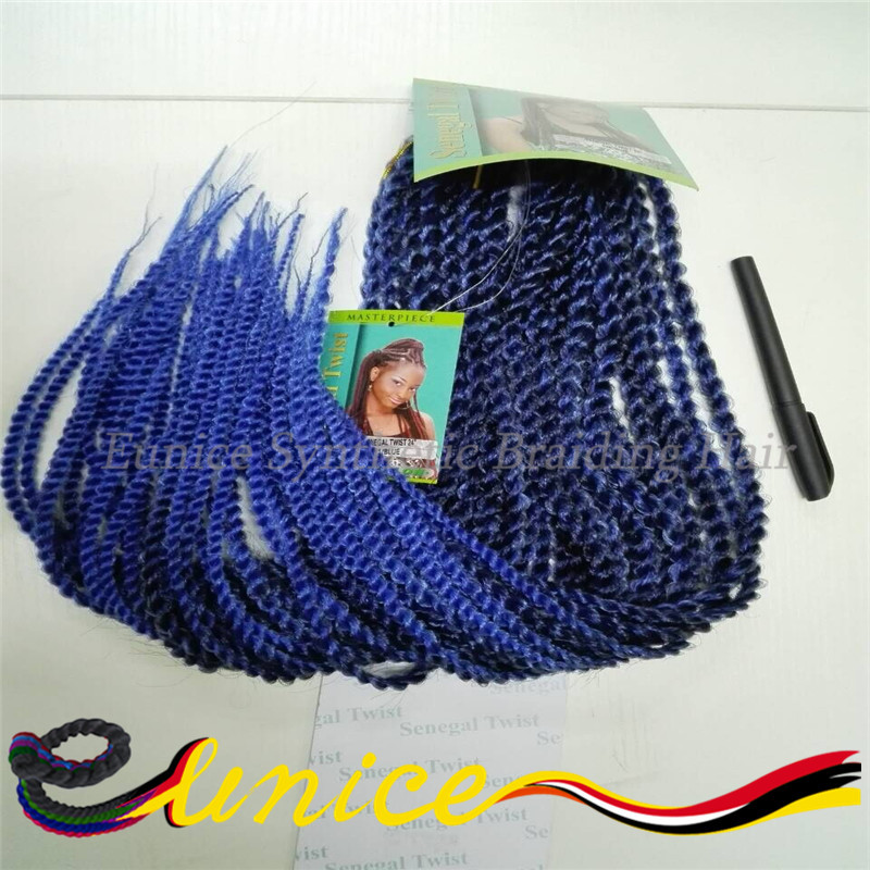OMBRE BLUE crochet hair extension thin senegal hairstyle crochet braiding two tone hairpiece weaving hairstyle Senegales