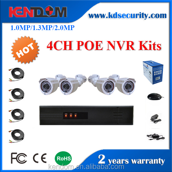 Kendom KD-PK4080P4-IP10 4CH Outdoor IP Camera POE NVR Kit Intelligent Security Camera 720P Bullet Security System Support P2P