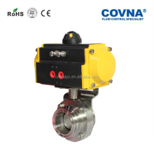 COVNA Stainless Steel Disc Sanitary Butterfly Valve With Pneumatic Actuator