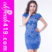 Royal blue lace key-hole back knee length dress