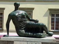 New modern bronze fat woman art sculpture sitting on base