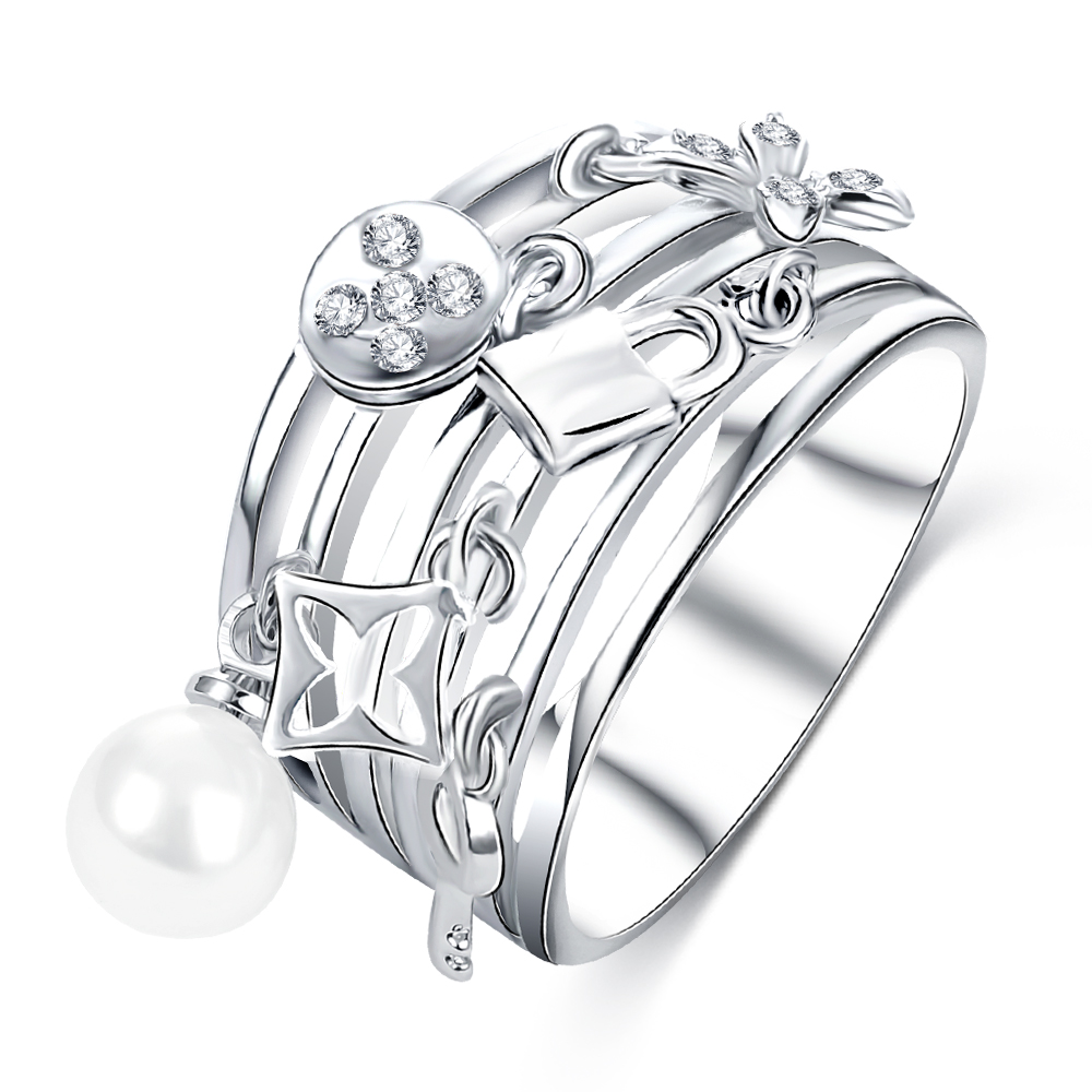 LZESHINE New Design Women Ring Multilayer Wide Hollow 18K White Gold Plated Finger Charm Ring Decorative Jewelry CRI0419-B