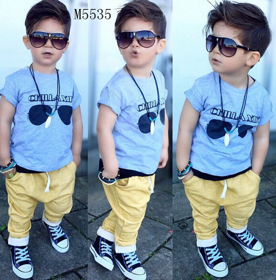 Korean Children's Clothing Boys Fashion 2016 Summer Clothing Boy's Clothes Set