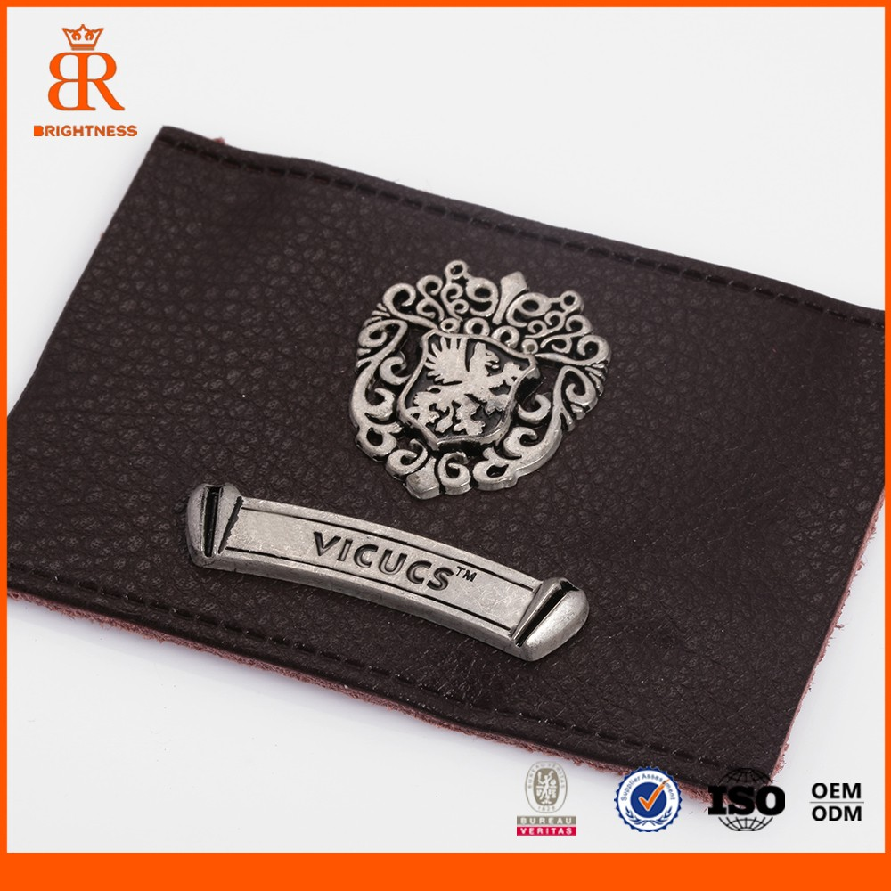Factory Custom Embossed Metal Logo PU Leather Patch