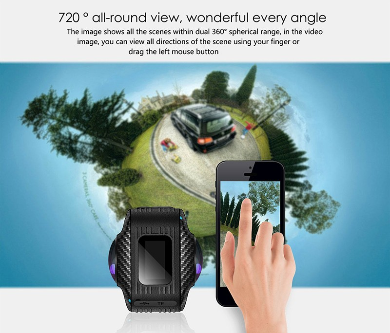360 dual lense camera, 360 wifi dual lense camera, dual lense outdoor sport 360 camera magicsee P3