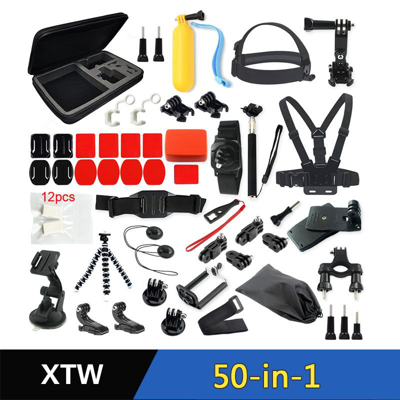 Wholesale Factory Price 50 -in-1 gopro accessories kit go pro accessories set for gopros hero 6 5 4 3 3+ xiaomiyi Camera