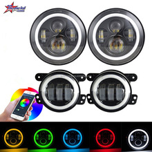 Cell Phone Control rgb 30W led fog light and 100W 7 inch jeep led headlight