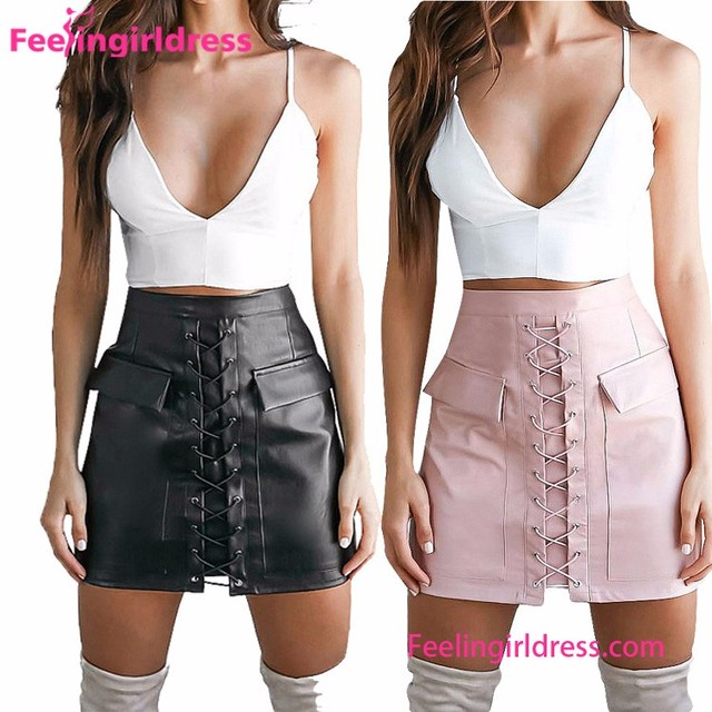 Sexy Punk Style Pencil Leather Flap Side Pockets Skirt