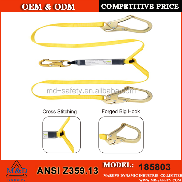 ANSI standard safety belt with shock absorber lanyard