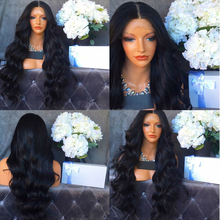 Top Quality Remy Body Wave Indian Human Hair Full Lace Wigs Long Natural Black No Shedding