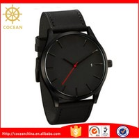Custom Fashion Vogue Watches Man With All Black Genuine Leather Strap