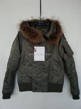2016 <strong>mens</strong>/womenshooded winter military green hooded with racoon fur nylon bomber jacket