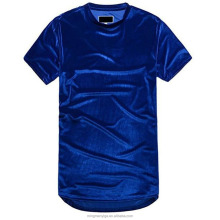 Mens Plain Hip Hop Long Tail Line Extended Velvet Velour T shirts