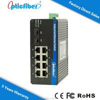 Industrial 8 Port PoE+ Gigabit Ethernet Switch with 8 High-Power PoE Ports, Wide Temperature