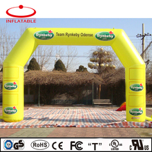 inflatable bow shape yellow sport event race archway for advertising