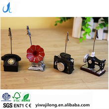 Novel cute sewing machine phonograph camera phone shape name card paper photo clips holder stand resin craft for logo custom