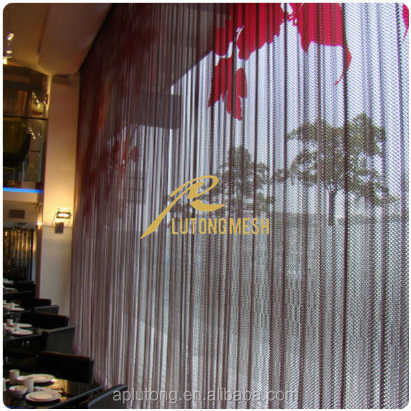 Low price aluminum alloy coil drapery,decorative woven metal fabric for wall partition