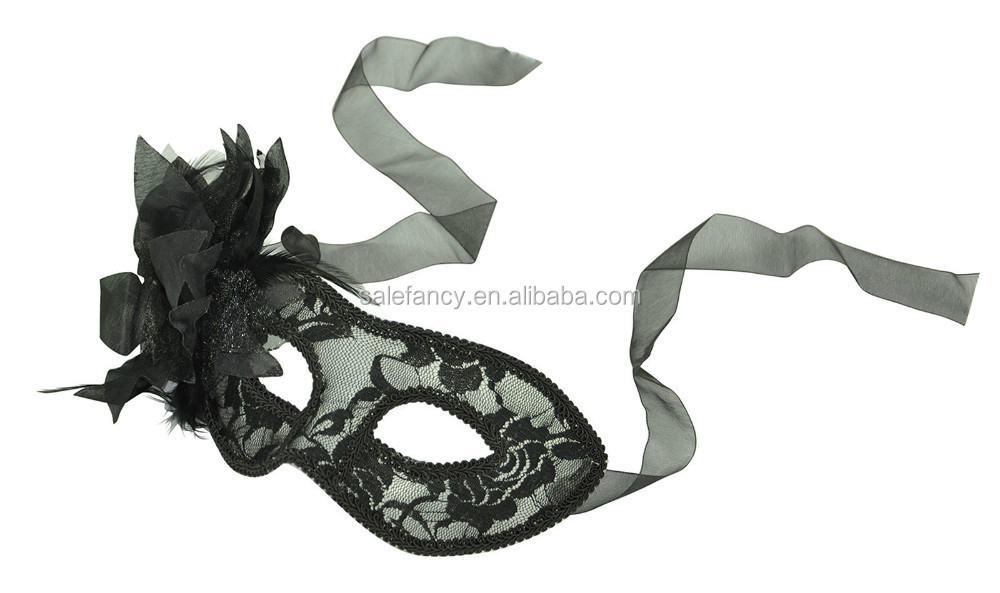 Black Mardi Gras & Masquerade halloween Mask in Lace with Decorative Side Flower QMAK-1055