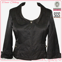 new arrival rounded collar folded cuff buttoned and pleated pocket soft handfeel women half jacket