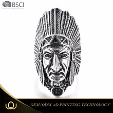 2017 Face sculpture African style as for wall decoration finger rings size Wholesale Indian Chief