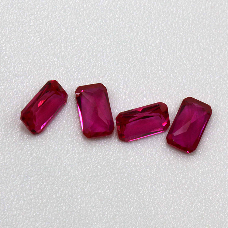top quality rectangle shanpe synthetic ruby 5# cabochon corundum gemstone