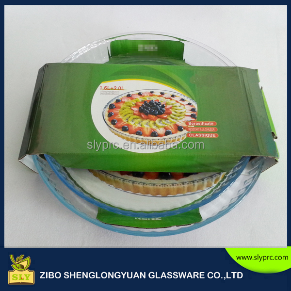 high borosilicate cook pizza use round pan/pizza plate/round shape glass bakeware set