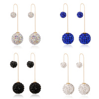 Jewelry Sparkly Shiny Cubic Zirconia Ball Long Chain Stud Earrings