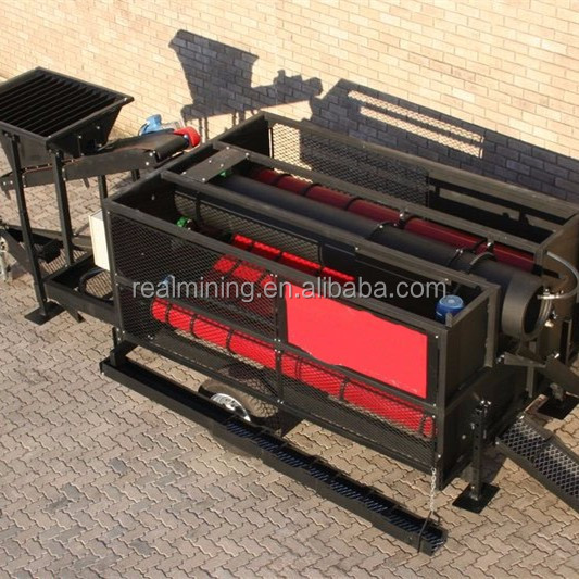 Complete and fully mobile gold recovery system gravity separator trommel screen