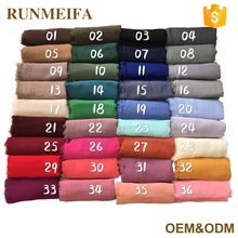 2017 Fashion Solid Color Crinkle Muslim Hijab Scarf And Shawls