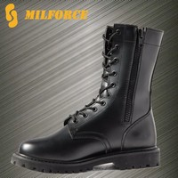 Full grain black cow leather side zipper army combat boots military
