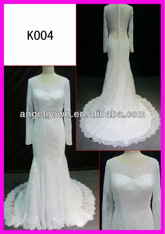 long sleeve lace covered back lace mermaid cap wholesale top quality alibaba bridal dress from china supplier K004