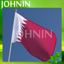 Hot Selling Professional Polyester Custom Printing Qatar Hand Waving Flags