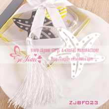 2013 Nice Silver Starfish Bookmark Favors White Tassel On Sale