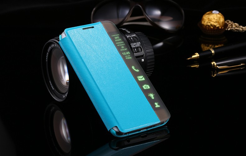 Blue Smart Verge Window Flip PU Leather Case Cover for Samsung S6 Edge